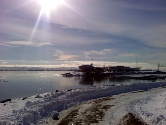 Ice and sun at Kingston Yacht Club